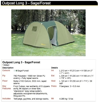 "Outbound ""Outpost Long 3"" Tent"